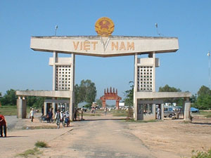 Offroad Vietnam Motorbike Adventures - International Border Gates Crossing. A Vietnam/Cambodia Border Gate