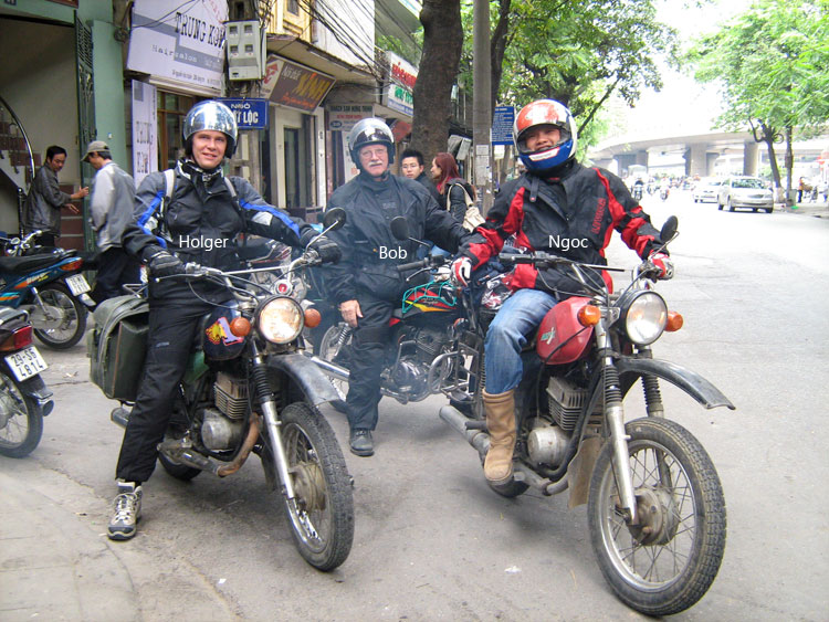 Offroad Vietnam Motorbike Adventures - Story Of An American Veteran: Bob, Holger and Ngoc before the depature for Northwest Vietnam ride in 2007