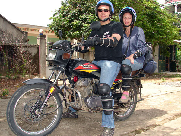 Mr. Cecil & Mrs. Colette Barnard (South Afica & Australia) reviews of Offroad Vietnam motorbike rental. 3 days Central North Vietnam Honda 160cc motorcycle rental