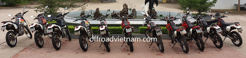 Offroad Vietnam Dirt Bike Rental - Hanoi Honda XR250, XR250 Baja Dirt Bikes: Honda dirtbike XR Baja 250cc Black, Front and Back Disc brake, XL Degree 250cc White, Front and Back Disc brake