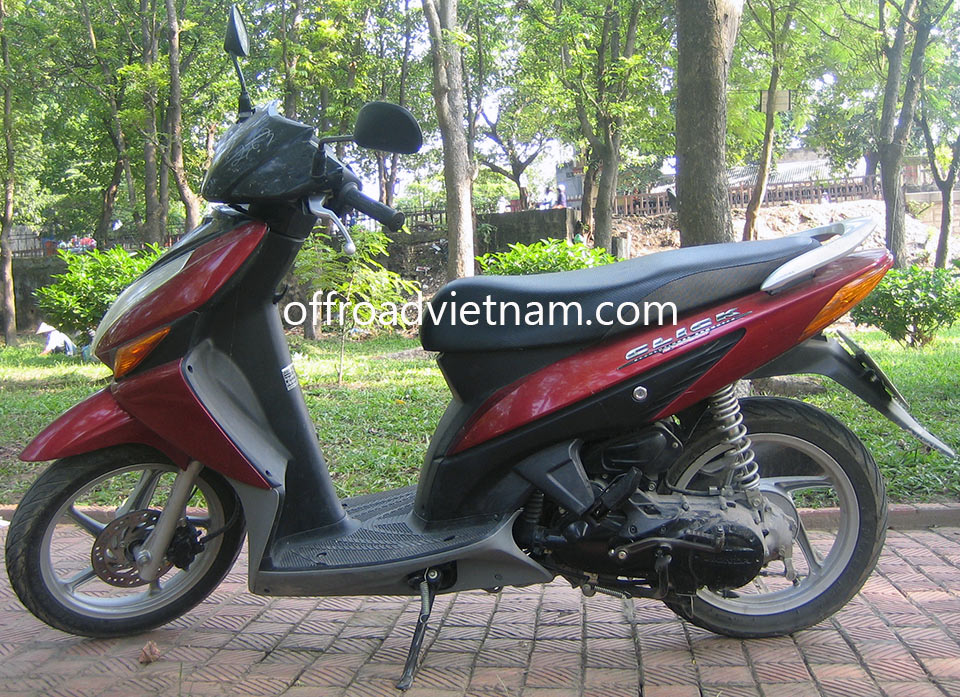 Offroad Vietnam Motorbike Rental - Honda Click 110cc In Hanoi. Honda Click 110cc, Air Blade 110cc Dunhill Red small scooter