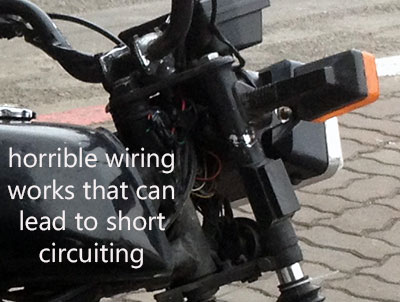 Offroad Vietnam Motorbike Adventures - Chinese Copy Of The Honda Win - Things You Should Know Before Buying Or Renting. Chinese copy of The Honda Win 100cc dangerous wiring works
