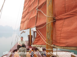 Offroad Vietnam Motorbike Adventures - Cruising In Halong Bay & Cat Ba: Traditional junk, sail boat, jonque in Halong Bay