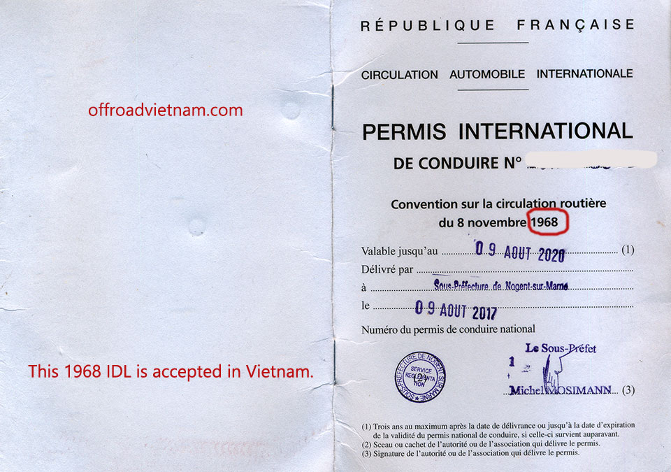 Top of page Offroad Vietnam Motorbike Adventures - FAQs - Frequently Asked Questions. International driving license 1968 Convention is now accepted in Vietnam.