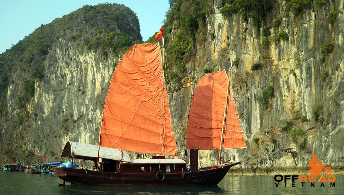 Offroad Vietnam Motorbike Tours - 2-day Halong Bay cruise & Cat Ba by a traditional junk boat.
