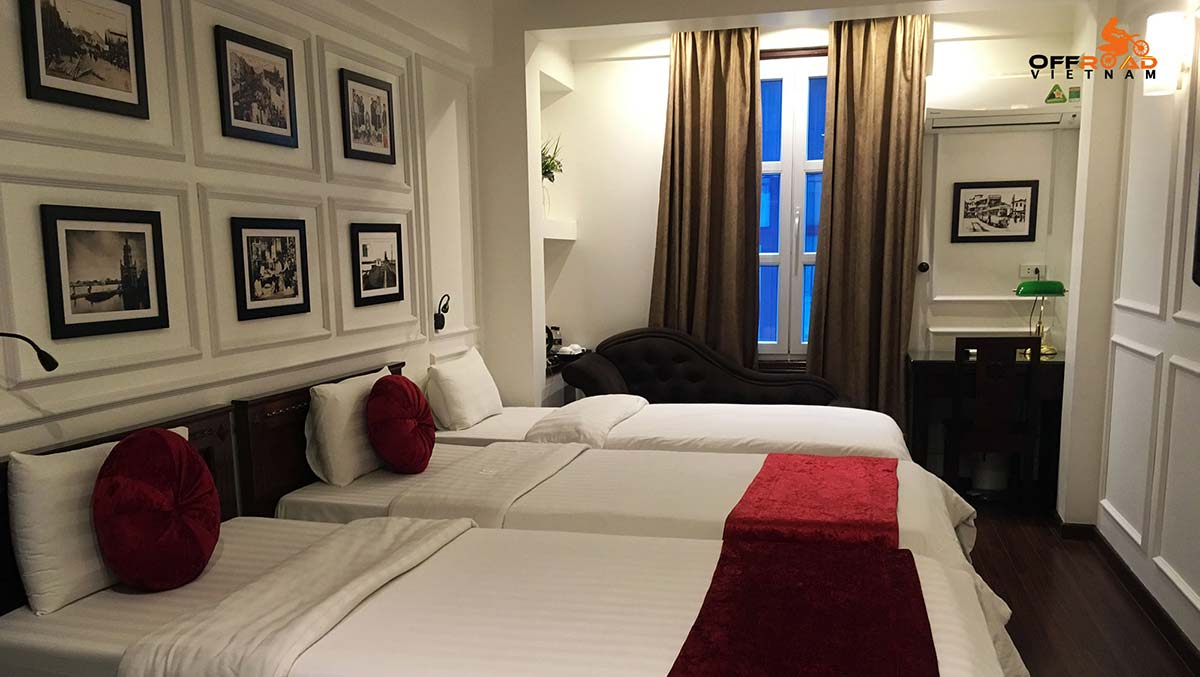 Hotel room reservation in the Old Quarter of Hanoi, triple room.