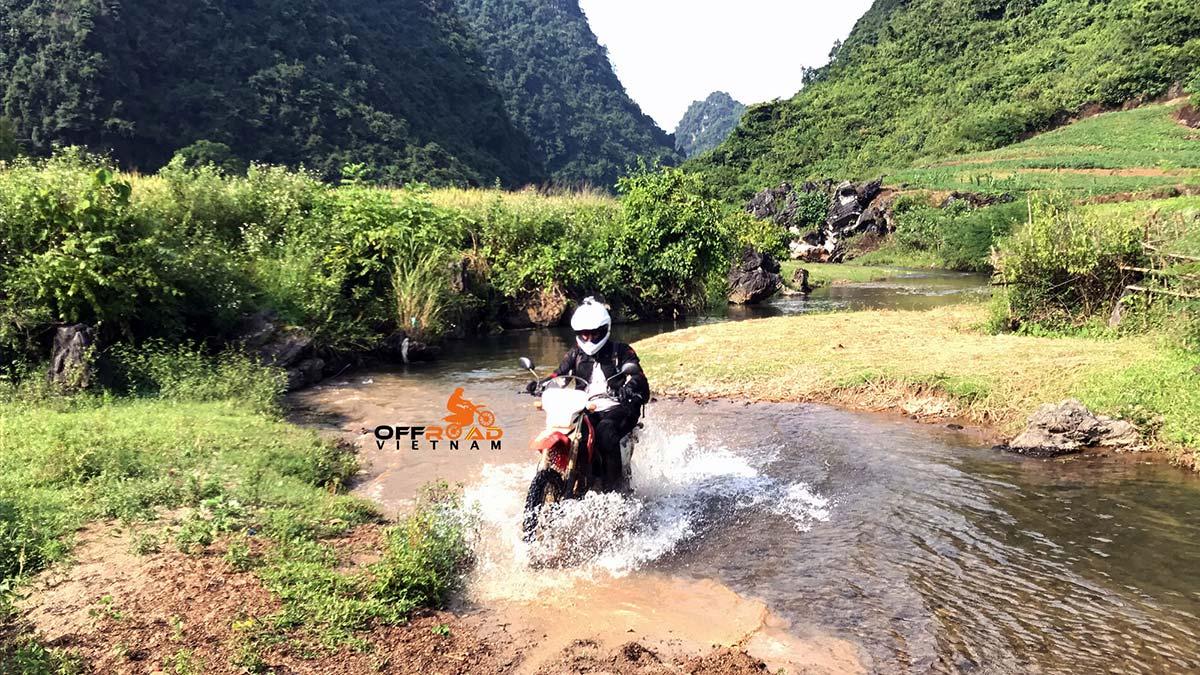 Offroad Vietnam Motorbike Adventures - Big North Vietnam in 9 days motorbiking with stream crossing in Ba Be.