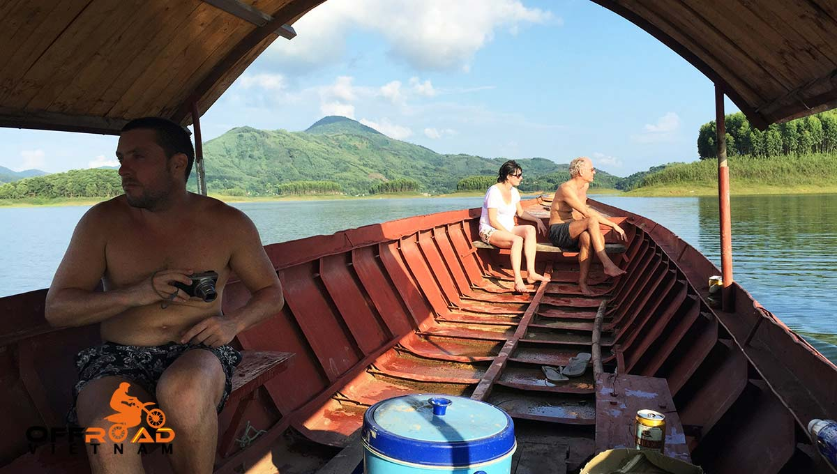 Offroad Vietnam Motorbike Adventures - Central North in 9 days motorcycle tour with a boat cruise in Vu Linh on Thac Ba lake.