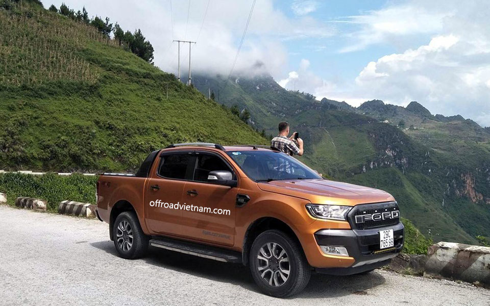 Offroad Vietnam Motorbike Adventures - Support Vehicle. Vietnam motorbike tour support / back up car, a Ford Ranger WildTrak 4x4 pick-up