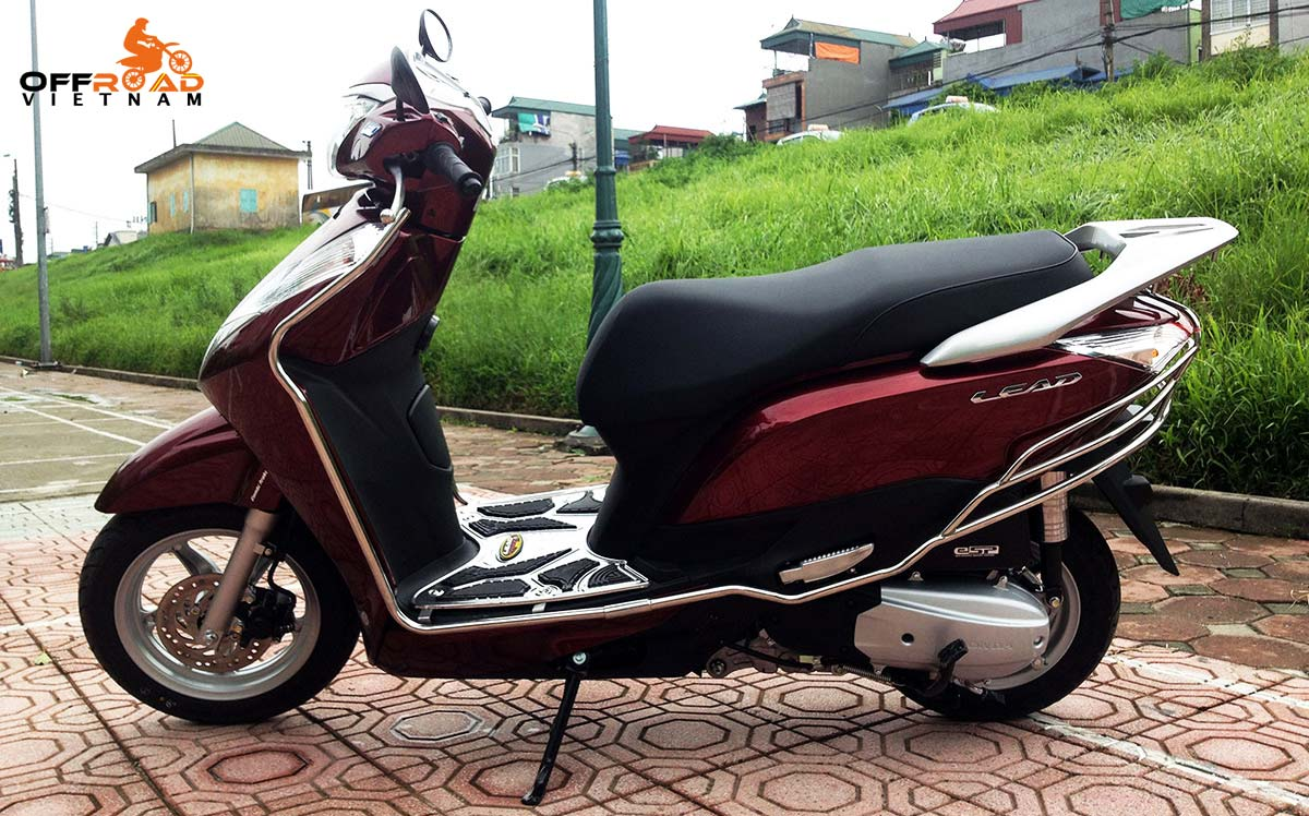 Offroad Vietnam Scooter Rental - red Honda Lead 125cc with stainless steel protection frame.
