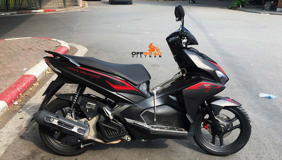 Offroad Vietnam Motorbike Rental - Offroad Vietnam offers automatic Honda Air Blade 125cc scooter in Hanoi, year 2017 with LED lights.