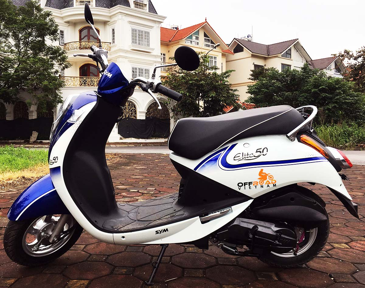 Offroad Vietnam Motorbike Adventures - Rent 50cc Motorbikes & Scooters Rentals In Hanoi. Offroad Vietnam provides moped scooter tours and rentals in Hanoi. This is a 2018 blue SYM Elite automatic scooter 50cc from left