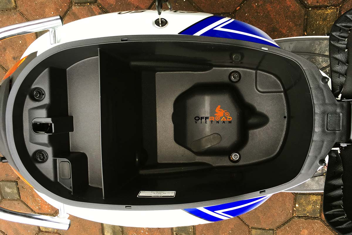 Offroad Vietnam Motorbike Adventures - Rent 50cc Motorbikes & Scooters Rentals In Hanoi. Offroad Vietnam provides moped scooter tours and rentals in Hanoi. This is a 2018 blue SYM Elite automatic scooter 50cc storage box under the seat