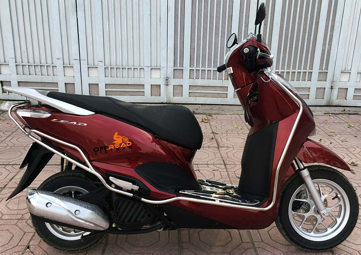 Offroad Vietnam Scooter Rental - Honda automatic scooter, brown Honda Lead 125cc with stainless steel protection frame.