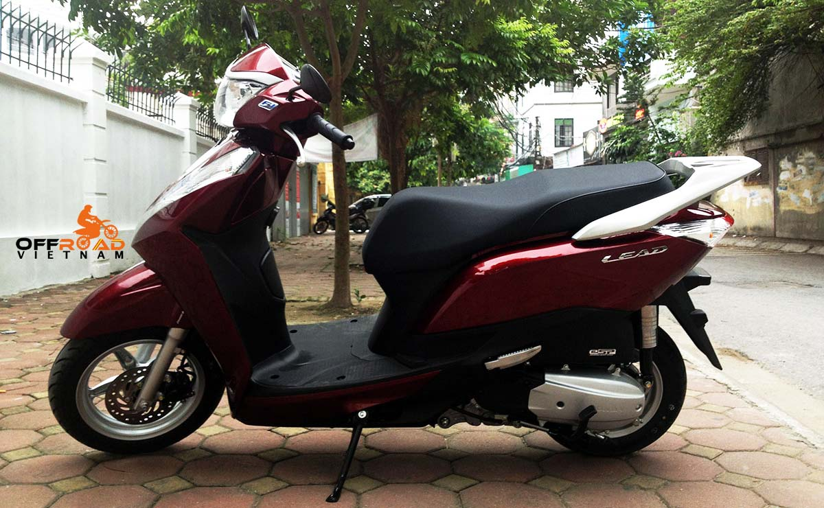 Offroad Vietnam Scooter Rental - red Honda Lead 125cc without stainless steel slider.