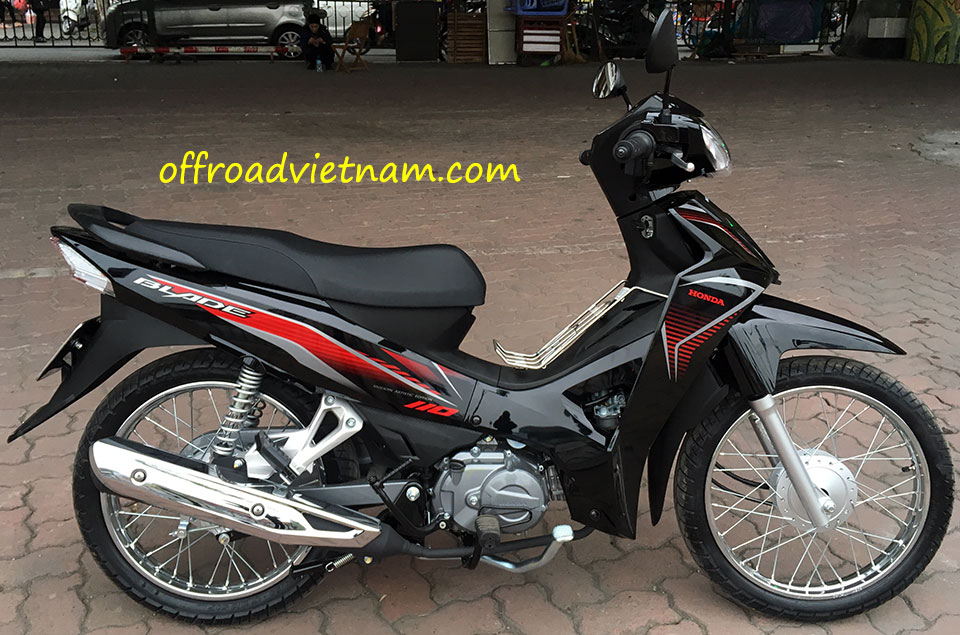 Offroad Vietnam Motorbike Adventures - Rent Semi-Automatic Moped Scooters In Hanoi. Offroad Vietnam provides moped scooter tours and rentals in Hanoi. This is a 2017 black Honda Blade 110cc with front and back drum brakes.