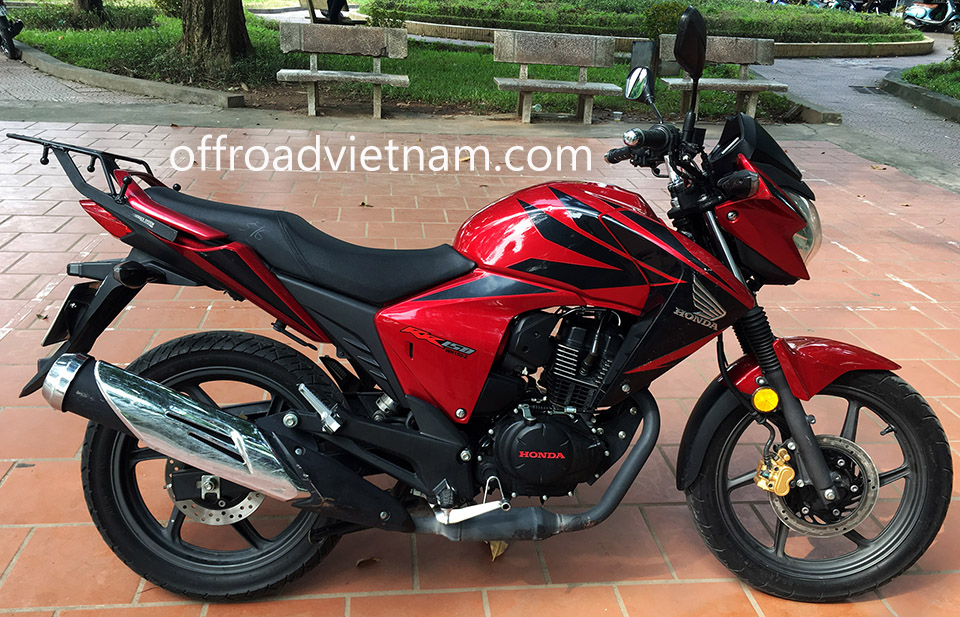 Offroad Vietnam Dirt Bike Rental - HONDA RR150 (CBF 150-SF) 150cc road bike for rent In Hanoi. 2014 HONDA RR150 (CBF 150-SF) 150cc touring bike Red, front and rear disc brakes