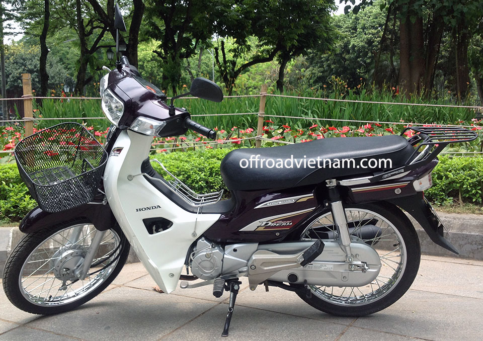 Offroad Vietnam Scooter Rental - 2014 Honda Super Dream 110cc Rental In Hanoi. 2014 Honda Super Dream 110cc Rental In Hanoi, Brown color, drum brakes and front basket and rear luggage rack.