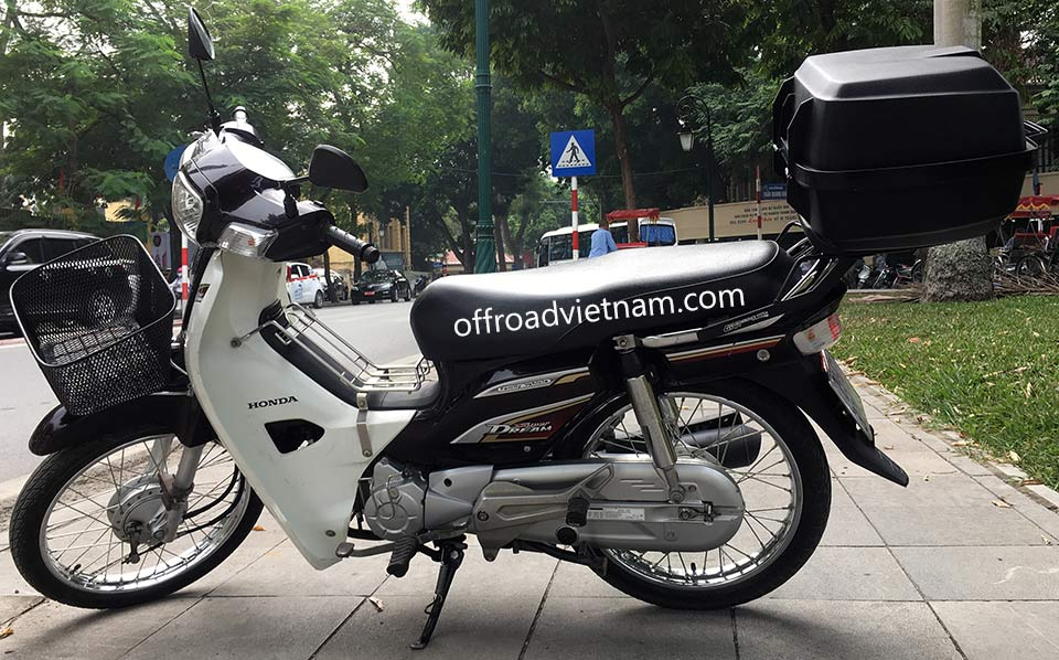 Offroad Vietnam Scooter Rental - 2014 Honda Super Dream 110cc Rental In Hanoi. 2014 Honda Super Dream 110cc Rental In Hanoi, Brown color, drum brakes and front basket and rear luggage rack and 39l box.