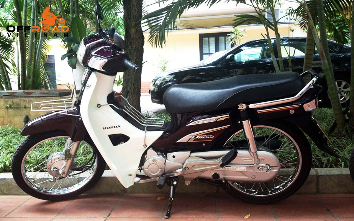 Offroad Vietnam Scooter Rental - 2014 Honda Super Dream 110cc Rental In Hanoi. 2014 Honda Super Dream 110cc Rental In Hanoi, Brown color, drum brakes.