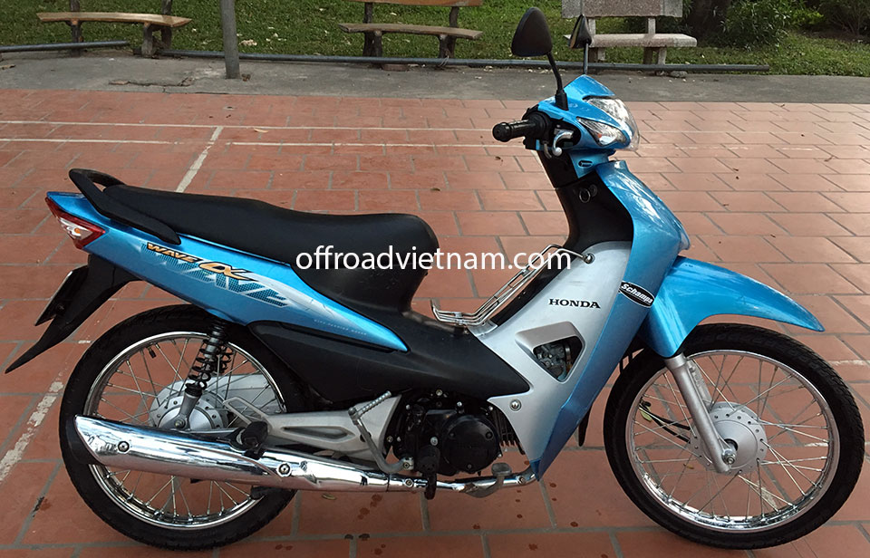 Offroad Vietnam Scooter Rental - The All New Honda Wave Alpha Series 100cc, sky blue color, front and back drum brakes