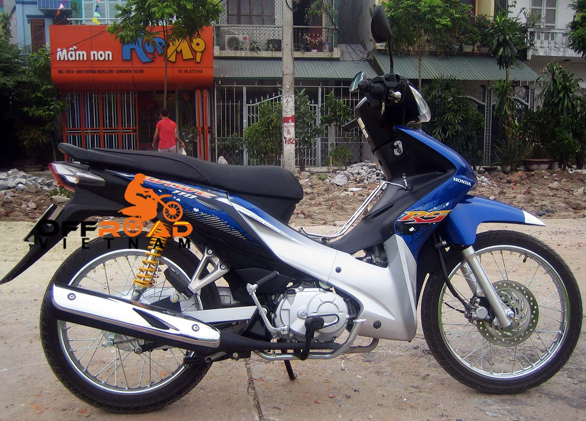 Offroad Vietnam Motorbike Sale - Honda Wave RS 110cc Blue Scooter Sale. Blue, Silver, Black. Front Disc Back Drum Brake. From right.