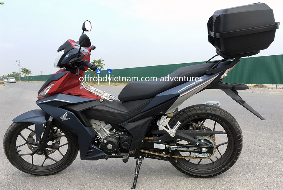 Offroad Vietnam Motorbike Adventures - Honda Winner 150cc For Rent In Hanoi. Honda Winner 150cc Dark silver and red, Disc brakes, cast wheels. Optional large rear box of 39 litres.