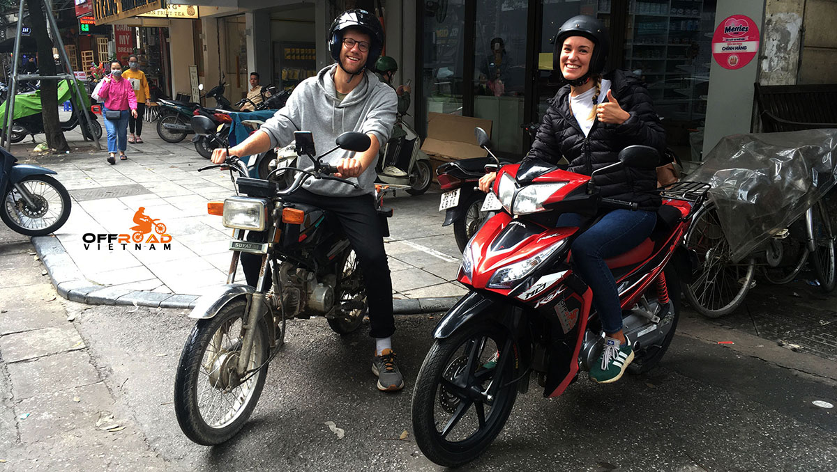 Offroad Vietnam motorcycle rentals. Semi-automatic scooters for long trips and commuting in Hanoi.