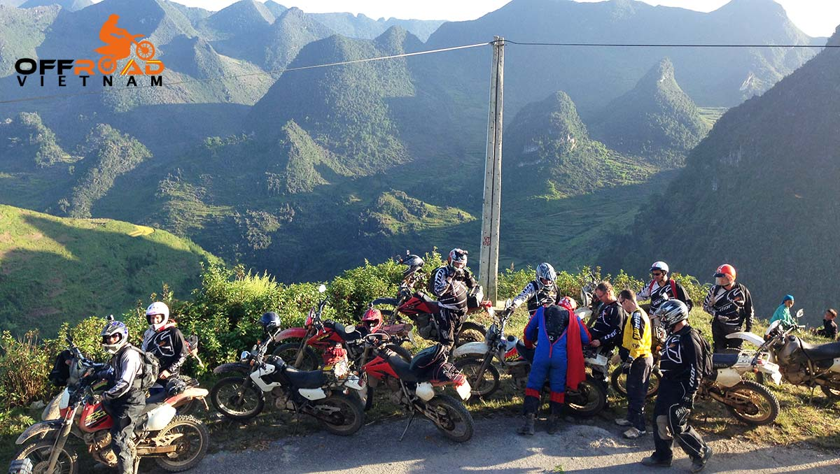 Offroad Vietnam Motorbike Adventures - Touring Vietnam On Honda XR250. Mark Fattore from Australia in a large group.