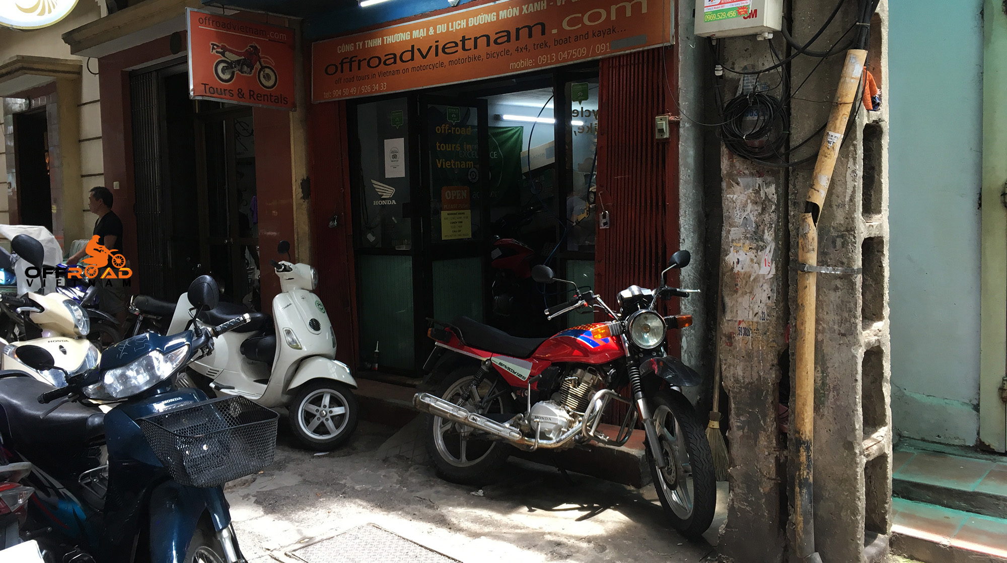 Offroad Vietnam office in Hanoi, this littel alleyway is small, typical and quite busy