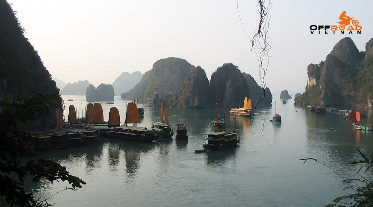Offroad Vietnam Motorbike Adventures - Fantastic Halong Bay In 3 Days By Bike, view of the Bay from a cave.