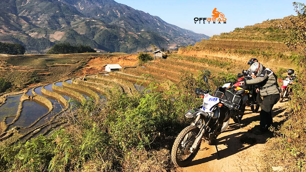 One of Offroad Vietnam tour by Honda CRF250L dual enduro of bikers exploring Ha Giang