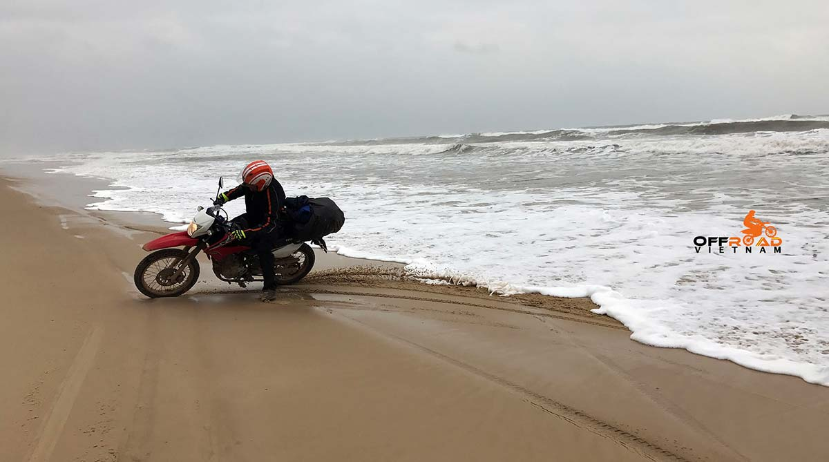 Ho Chi Minh Trail Motorbike Tour 9 Days: Ho Chi Minh Trail (Road) motorbike tour, Vietnam. Riding on the beach