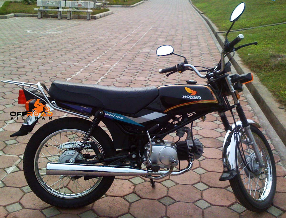 Offroad Vietnam Motorbike Adventures - Real Honda Win - Things You Should Know Before Buying Or Renting. Refreshed Sport 100cc Black, Drum brake