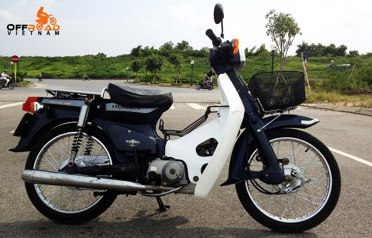Offroad Vietnam Scooter Rental - The legendary Honda Super Cub 50cc Rental In Hanoi. This is blue 1993 model with 70cc over-bore kit