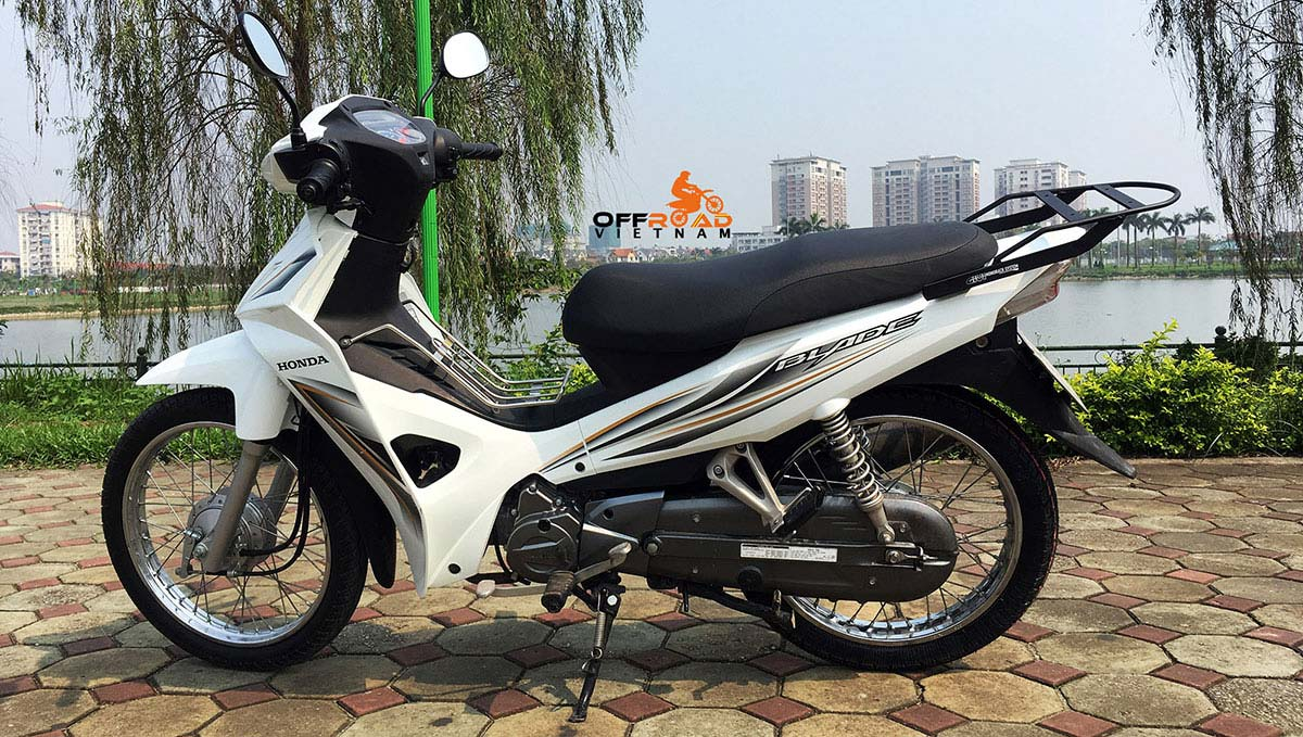Offroad Vietnam Scooter Rental - Honda Blade 110cc for rent In Hanoi with extension rack for touring, 2015 model