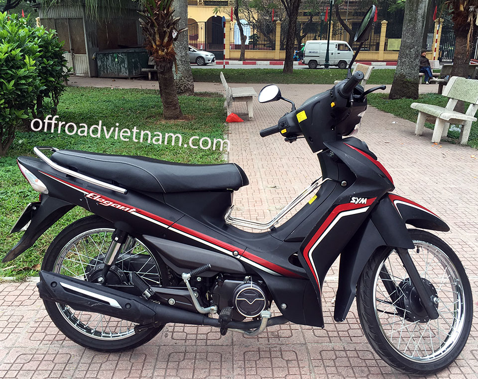 Offroad Vietnam Motorbike Adventures - Rent 50cc Motorbikes & Scooters Rentals In Hanoi. Offroad Vietnam provides moped scooter tours and rentals in Hanoi. This is a 2017 black SYM Elegant semi-automatic scooter 50cc