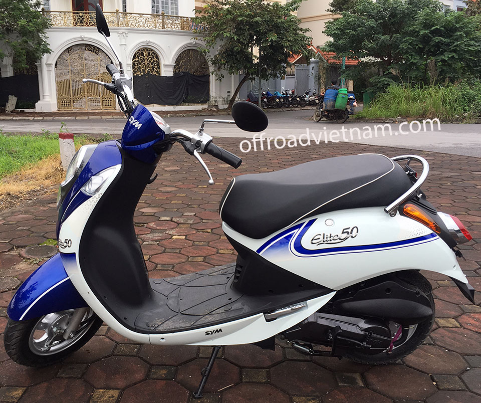 Offroad Vietnam Motorbike Adventures - Rent 50cc Motorbikes & Scooters Rentals In Hanoi. Offroad Vietnam provides moped scooter tours and rentals in Hanoi. This is a 2018 blue SYM Elite automatic scooter 50cc