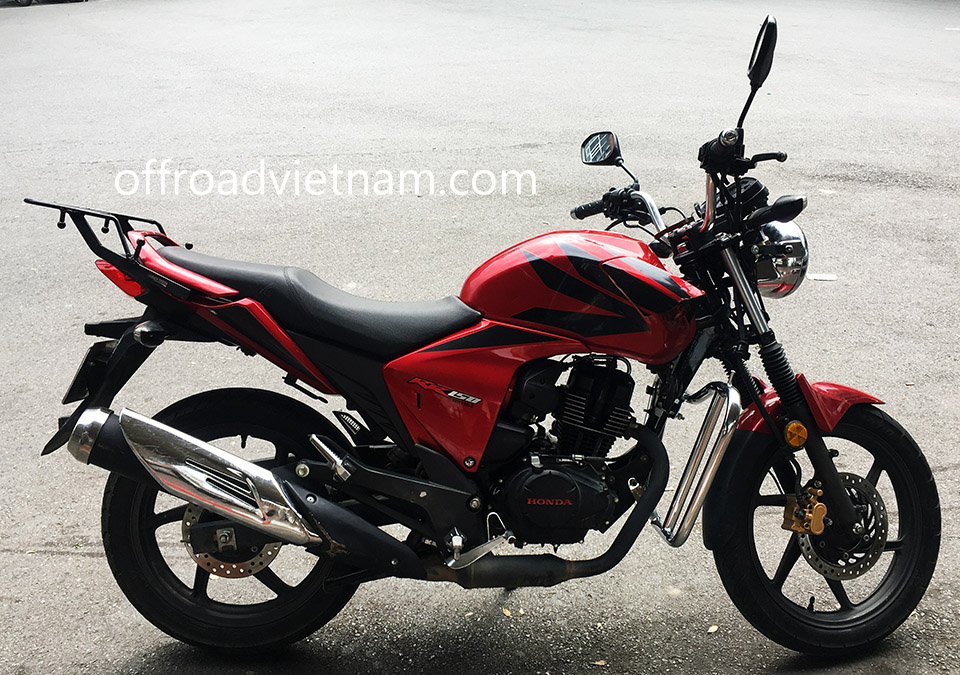 Offroad Vietnam Dirt Bike Rental - HONDA RR150 (CBF 150-SF) 150cc road bike for rent In Hanoi. 2014 HONDA RR150 (CBF 150-SF) 150cc touring motorcycle new and wide crash bar and round headlight