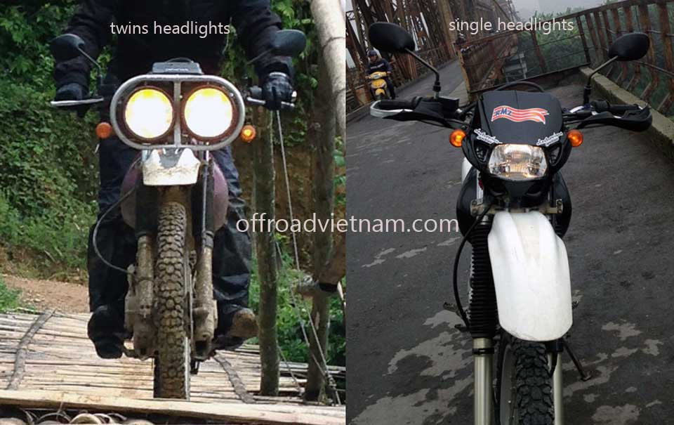 Offroad Vietnam Dirt Bike Rental - Hanoi Honda XR250, XR250 Baja Dirt Bikes: Honda dirtbike XR250 Baja 250cc twins headlight vs single headlight