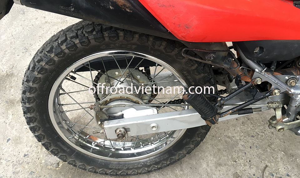 Offroad Vietnam Dirt Bike Rental - Honda XR125 150cc In Hanoi, rear wheel.