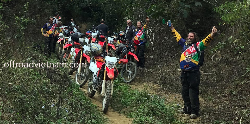 One of Offroad Vietnam Motorbike Tours groups of bikers exploring Northern Vietnam on Honda XR250 dirt bikes.