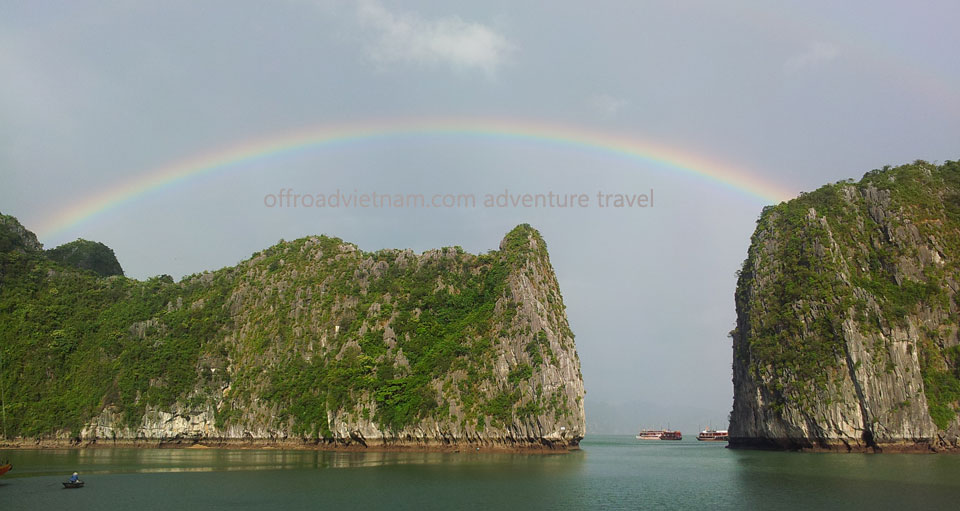 Offroad Vietnam Motorbike Adventures - Climate And Weather Information. Vietnam weather, rainbow over clear sky in Halong Bay