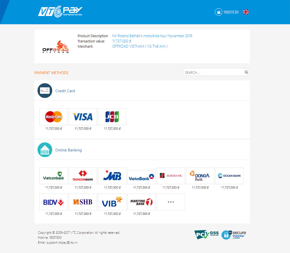 A sample of VTCPay online pay gate Offroad Vietnam prepared- Booking Payment