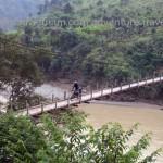 A hanging bridge near Sapa on a Vietnam motorbike tour.