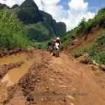 Vietnam motorbike tours, Vietnam motorcycle tours. Challenging dirt bike tour in the Northeast after a landslide.