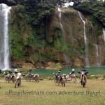 Ban Gioc waterfalls, on the Vietnam-China border. Dirt bike travel in Vietnam.