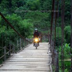 Dirt bike tours Northeast Vietnam with Offroad Vietnam. Riding over a bamboo bridge in rainy season