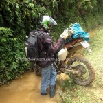 Vietnam motorbike tours, Vietnam motorcycle tours. Lost control at a turn!