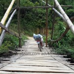 Vietnam motorbike tours, Vietnam motorcycle tours. A local bamboo sopporting bridge.